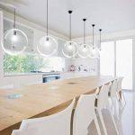 Soasa Lampe Suspension, Lustre Chambre Lampe Suspension Lustre Plafond en Verre Transparente Lampe Boule E27 Lumières Parfait pour Chambre Salon Restaurant (25CM) de la marque Soasa image 3 produit