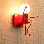 SODIAL Creatif Dessin anime Petits gens LED Appliques pour Salon Chambre Couloir moderne Tete unique de metal Lampe de chevet Appliques murales pour les enfants Eclairage interieur rouge de la marque SODIAL image 4 produit
