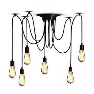 Splink Lustre à 6 Têtes Douilles d'ampoule E27 Lampe Suspension Style Industriel Luminaire DIY Edison Ampoule Vintage Antique Noir de la marque Splink image 0 produit