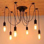 Splink Lustre à 6 Têtes Douilles d'ampoule E27 Lampe Suspension Style Industriel Luminaire DIY Edison Ampoule Vintage Antique Noir de la marque Splink image 4 produit