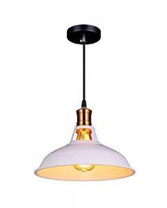 Splink Rétro Style Industriel Lampe Suspendue E27 Luminaire avec Abat-jour Forme de Pot Blanc pour Salle à manger, Chambre à coucher Ampoule non inclus de la marque Splink image 0 produit