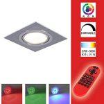 Spot encastré LED RGB changement de couleur 1 pièce set Luminaire à encastrer aluminium carré encastrables 4,3W incl. Télécommande à pour plafond pivotant deckeneinbauspots source d'éclaraige de la marque LHG image 2 produit