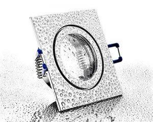 Spot encastrable MR16Lampe Fonte d'Aluminium IP44salle de bain en chrome brillant–Cadre de montage avec fermeture à clic et verre–pour pièces humides salle de bain de la marque HAVA image 0 produit