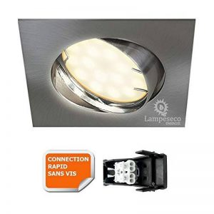 SPOT ENCASTRABLE ORIENTABLE LED CARRE ALU BROSSE GU10 230V eq. 50W BLANC NEUTRE de la marque Lampesecoenergie image 0 produit