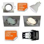 SPOT ENCASTRABLE ORIENTABLE LED CARRE ALU BROSSE GU10 230V eq. 50W BLANC NEUTRE de la marque Lampesecoenergie image 1 produit