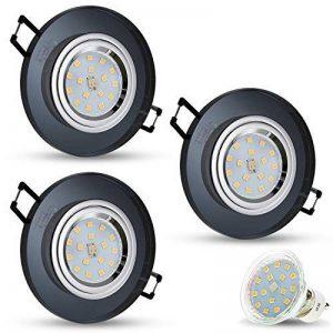 Spot LED encastrable en verre/miroir/noir cristal rond avec x 4W LED blanc froid 230V IP20plafond Spot LED encastrable Spot encastrable Couverture encastrable Spot à encastrer au plafond, 3er Set, GU10 4.00 W 230.00 voltsV de la marque JVS-Licht image 0 produit