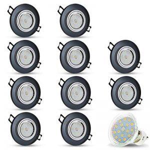 Spot à LED encastrable - En verre - Noir - Extra-plat - Modèle Cristal - Rond 4 W - Blanc chaud - 230V - IP20, Verre, Lot de 10, GU10 4.00W 230.00V de la marque JVS-Licht image 0 produit