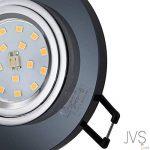 Spot à LED encastrable - En verre - Noir - Extra-plat - Modèle Cristal - Rond 4 W - Blanc chaud - 230V - IP20, Verre, Lot de 10, GU10 4.00W 230.00V de la marque JVS-Licht image 1 produit