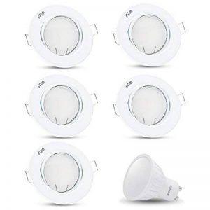 Spot LED encastrable orientable Decoro rond (Blanc) avec LED x 7W blanc chaud 230V IP20Spot de plafond encastrable Spot encastrable Couverture encastrable Spot à encastrer au plafond rotatif, 5er Set, GU10 7.00 230.00 volts de la marque JVS-Licht image 0 produit