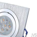 Spot LED encastrable orientable DIMM Bar Star rectangulaire Chromé mat/argenté + 1x 5W LED Philips Blanc chaud 230V IP20Plafonnier Spot plafonnier spot plafond encastrable carrée Moderne Lot de 10 de la marque JVS image 1 produit