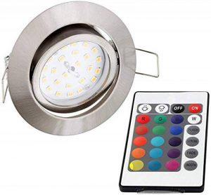 Spot plat encastrable et orientable à LED RVB 230V Avec télécommande, changement de couleur et 3niveaux d'intensité variable Moderne Eisen-gebürstet de la marque HAVA image 0 produit
