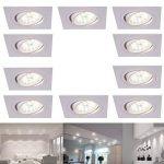 spots led encastré carré luminaire à encastrer blanc 10 set pivotant 4FACH Intensité Variable encastrable de plafond 4000K lampes encastrées Moderne Plafonnier switchmo + Ampoule de la marque LHG image 3 produit