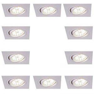 spots led encastré carré luminaire à encastrer blanc 10 set pivotant 4FACH Intensité Variable encastrable de plafond 4000K lampes encastrées Moderne Plafonnier switchmo + Ampoule de la marque LHG image 0 produit