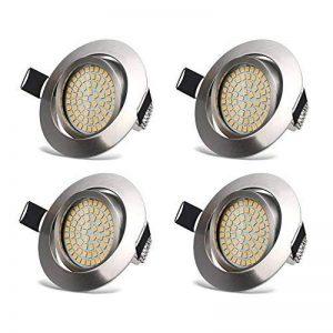 Spots LED Encastrable Orientable 3.5W Ultraslim Plafond Rond Eclairage Encastré Blanc Chaud 3000K 400lm 230V IP20 Trou de Plafond Φ75-80MM pour Plafond de Chambre, Cuisine, Salon, Couloir (Lot de 4) de la marque HYDONG image 0 produit