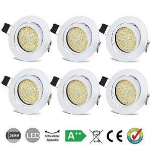 Spots LED Interieur Blanc Plafonnier Encastrable Orientable Rond 3.5W Ultraslim Blanc Chaud 3000K 400LM 230V IP20 pour Plafond de Chambre, Cuisine, Salon, Couloir (Lot de 6) de la marque HYDONG image 0 produit