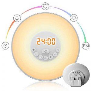 StillCool Lampe de Réveil Lumière Tactile avec Fonction Radio FM, Simulation d'Aube et de Crépuscule, Délai de Sonnerie, 7 Couleurs Lumière LED, 6 Sons Naturels ,10 Niveaux de Luminosité / pour Bébé Enfant Adult (Ronde) de la marque StillCool image 0 produit