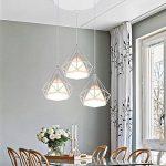 STOEX Lustre Suspension Cage en forme Diamant Industrielle,Lampe Plafonnier Corde Ajustable Luminaire Blanc pour Salle à Manger,Bar,Chambre de la marque STOEX image 1 produit