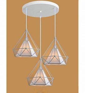 STOEX Lustre Suspension Cage en forme Diamant Industrielle,Lampe Plafonnier Corde Ajustable Luminaire Blanc pour Salle à Manger,Bar,Chambre de la marque STOEX image 0 produit