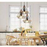 STOEX Lustre Suspension Industrielle 25cm en forme Diamant Corde de Chanvre Ajustable Luminaire pour Salle à Manger,Bar,Chambre de la marque STOEX image 2 produit