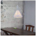 STOEX Lustre Suspension Industrielle en forme Diamant 25cm Lampes de Plafond Abat-Jour Cage en Fer Luminaire Corde Ajustable Salle à Manger,Bar,Chambre Blanc de la marque STOEX image 4 produit