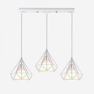 STOEX Lustre Suspension Industrielle en forme Diamant 25cm Lampes de Plafond Abat-Jour Cage en Fer Luminaire Corde Ajustable Salle à Manger,Bar,Chambre Blanc de la marque STOEX image 0 produit