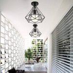 STOEX Plafonnier industrielle Retro 25cm en forme Diamant Suspension Luminaire pour Salle à Manger,Bar,Chambre (Noir) de la marque STOEX image 1 produit