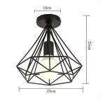 STOEX Plafonnier industrielle Retro 25cm en forme Diamant Suspension Luminaire pour Salle à Manger,Bar,Chambre (Noir) de la marque STOEX image 4 produit