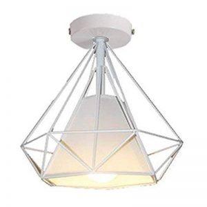STOEX Retro Plafonnier Industrielle Cage en forme Diamant en Métal Fer Lustre Suspension Luminaire pour Salon Salle Chambre Décorer Maison Cuisine (Blanc) de la marque STOEX image 0 produit