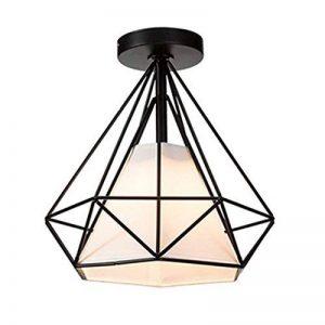 STOEX Retro Plafonnier Industrielle Cage en forme Diamant en Métal Fer Lustre Suspension Luminaire pour Salon Salle Chambre Décorer Maison Cuisine (Noir) de la marque STOEX image 0 produit