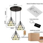 STOEX Suspension Cage Forme Diamant Contemporain 25cm Corde Ajustable Luminaire Lustre en Fer Salle à Manger,Bar,Chambre de la marque STOEX image 3 produit