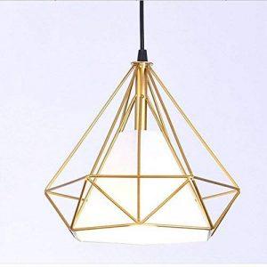STOEX Suspension Industrielle 25cm Lustre Abat-Jour en Fer Forme Diamant Plafonnier Luminaire Doré de la marque STOEX image 0 produit