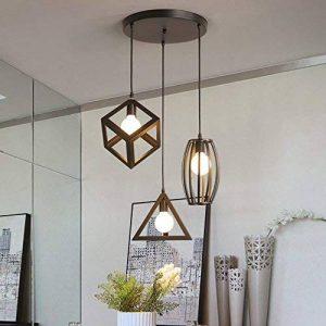 STOEX Suspension Luminaire Vintage Cage Métal, Lustre Industriel 3 Lampes E27 Corde Ajustable pour Salon Cuisine Chambre de la marque STOEX image 0 produit