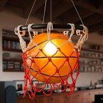 Style américain Vintage Creative Basketball Pendentif Lampe Restaurant Bar Sport Thème Parc Gymnase Art Déco Rétro Verre Lustre DIY Tresse Basketball Net Plafond Lumière E27 de la marque Lizichun image 1 produit