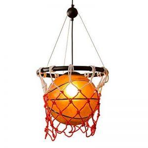 Style américain Vintage Creative Basketball Pendentif Lampe Restaurant Bar Sport Thème Parc Gymnase Art Déco Rétro Verre Lustre DIY Tresse Basketball Net Plafond Lumière E27 de la marque Lizichun image 0 produit