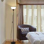 Sunllipe LED Lampadaire, Lampe Sur Pied Solide Moderne avec abat-jour en Plastique banc, Uplight 9W 810 Lumen pour salon, chambre à coucher, 3000K Lumière Blanc chaud-Höhe 1,8m, Tige Métallique, Noir de la marque Sunllipe image 4 produit