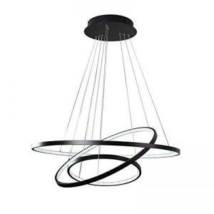 Suspension Lampe Pendentif LED Lumière Eclairage de plafond Moderne Simple Design Lustre pour Salon Salle à manger Table à manger Cuisine Bureau Métal et Acrylique Lampe 72W Noir Peint (Lumière blanche) de la marque LT·Lamp image 0 produit