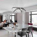 Suspension Lampe Pendentif LED Lumière Eclairage de plafond Moderne Simple Design Lustre pour Salon Salle à manger Table à manger Cuisine Bureau Métal et Acrylique Lampe 72W Noir Peint (Lumière blanche) de la marque LT·Lamp image 1 produit