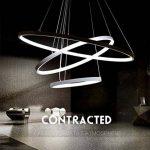 Suspension LED pour salle à manger Blanc froid Lumière moderne Table de salle à manger Lampe ronde 3 anneaux Design Lampe suspension Hauteur réglable Pendant Lampe suspendue Lustre Aluminium Acrylique 61W 6500K D60 cm de la marque LK.WHTDB image 1 produit