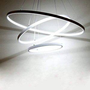 Suspension LED pour salle à manger Blanc froid Lumière moderne Table de salle à manger Lampe ronde 3 anneaux Design Lampe suspension Hauteur réglable Pendant Lampe suspendue Lustre Aluminium Acrylique 61W 6500K D60 cm de la marque LK.WHTDB image 0 produit