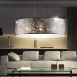 Suspension luminaire lustre salle de séjour tissu éclairage plafonnier chambre de la marque Globo image 3 produit