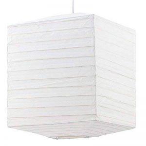 Suspension luminaire plafond papier de riz éclairage blanc carré lampion de la marque etc-shop image 0 produit
