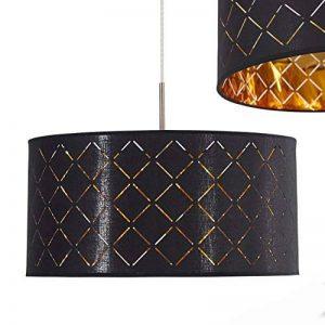 Suspension Meldal en tissu, noir et or - Suspension exotique avec abat-jour rond - Lampe pour salle à manger, salon, chambre à coucher - Douille E27 - Convient pour LED de la marque hofstein image 0 produit