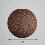 Suspension sisal Abat-jour Boule Ronde lustre rotin,Diamètre (Brown, 23cm) de la marque Huahan Extension image 1 produit