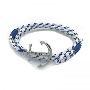 SUXNOS Bracelet Ancre Homme Femme Marine Espérer Amour Chaînes Bleu Nautique Cordon Braided Wrap Acier Hope Wristband de la marque SUXNOS image 0 produit