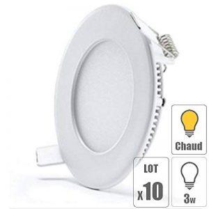 TechBox lot x10 Spot led encastrable extra plat downlight rond 3w slim blanc chaud ultra slim pour plafonnier de la marque TechBox image 0 produit