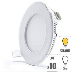 TechBox lot x10 Spot led encastrable extra plat downlight rond 3w slim blanc chaud ultra slim pour plafonnier de la marque TechBox image 0 produit