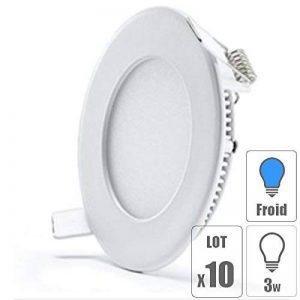 TechBox lot x10 Spot LED encastrable Extra Plat Downlight Rond 3w Slim Blanc Froid Ultra Slim de la marque TechBox image 0 produit