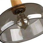 TENSENG Lustre Suspension E27 Lampe Plafonnier Ronde Hauteur réglable, Verre électrolytique gris fumée, Décoration en bois massif, Plateau de plafond en métal noir (TX18002-Z) de la marque TENSENG image 1 produit