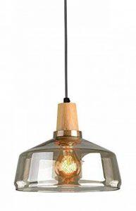 TENSENG Lustre Suspension E27 Lampe Plafonnier Ronde Hauteur réglable, Verre électrolytique gris fumée, Décoration en bois massif, Plateau de plafond en métal noir (TX18002-Z) de la marque TENSENG image 0 produit