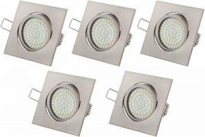 Tevea - Eclairage encastré cadre et lampe LED Downlight 230V 3.5W Ultra Slim - pivotant, cadre carré, Lot de 5 Spots de la marque Tevea image 0 produit
